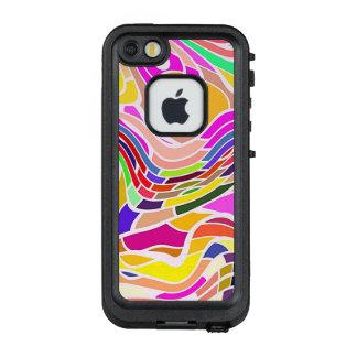 Funda FRÄ' De LifeProof Para iPhone SE/5/5s Arte abstracto colorido, líneas blancas de las