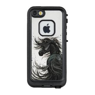 Funda FRÄ' De LifeProof Para iPhone SE/5/5s Cubierta frisia negra majestuosa del caballo por