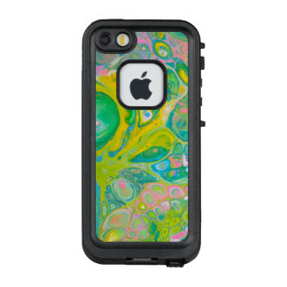 Funda FRÄ' De LifeProof Para iPhone SE/5/5s El acrílico del verde y del rosa vierte arte
