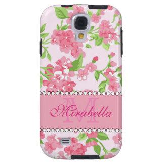 Funda Galaxy S4 Nombre de ramas rosado del flor de la acuarela de