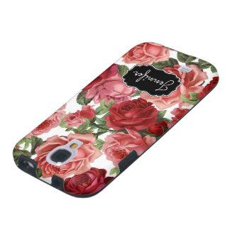 Funda Galaxy S4 Nombre floral de los rosas rosados elegantes