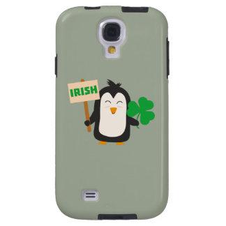 Funda Galaxy S4 Pingüino irlandés con el trébol Zjib4