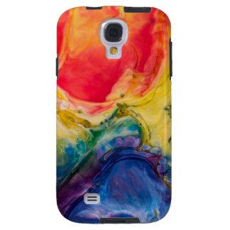Funda Galaxy S4 Pintura abstracta azul amarilla roja