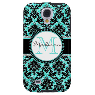 Funda Galaxy S4 Purpurina y damasco negro, nombre de las azules