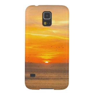 Funda Galaxy S5 Costa de la puesta del sol con Sun anaranjado y