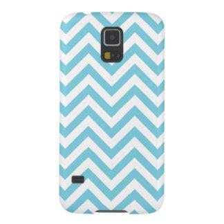 Funda Galaxy S5 El zigzag azul y blanco raya el modelo de Chevron
