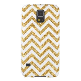 Funda Galaxy S5 El zigzag del brillo del oro blanco raya el modelo