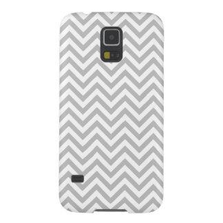 Funda Galaxy S5 El zigzag gris y blanco raya el modelo de Chevron