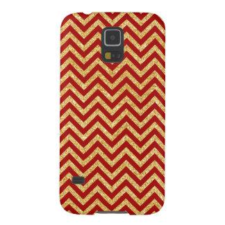 Funda Galaxy S5 El zigzag rojo del brillo del oro raya el modelo