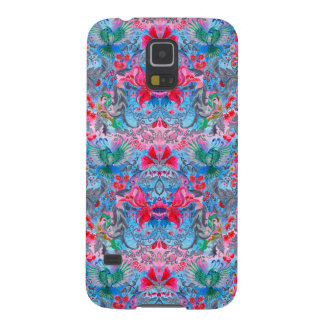 Funda Galaxy S5 Modelo azul del lux del pájaro del jardín floral