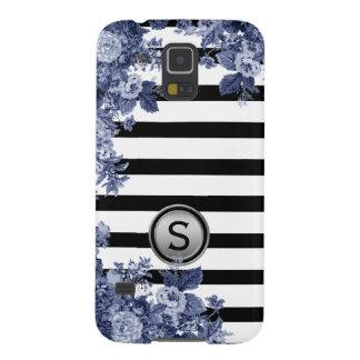 Funda Galaxy S5 Monograma floral del adorno del añil blanco negro