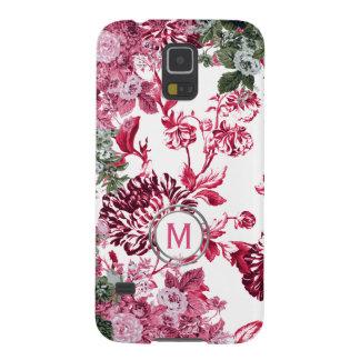 Funda Galaxy S5 Monograma floral rosado del jardín