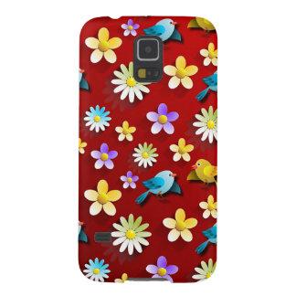 Funda Galaxy S5 Pájaros y flores de la primavera roja