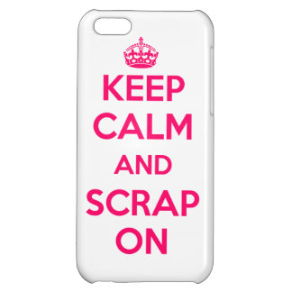 Funda iPhone5 Keep Calm and Scrap On blanco/rosa