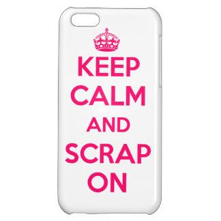Funda iPhone5 Keep Calm and Scrap On blanco/rosa