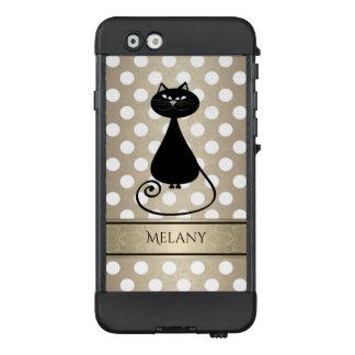 Funda NÜÜD De LifeProof Para iPhone 6 Lunares de oro adorables del gato negro