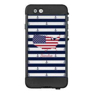 Funda NÜÜD De LifeProof Para iPhone 6 Modelo náutico americano de las rayas de la