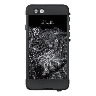Funda NÜÜD De LifeProof Para iPhone 6 Personalice: Tinta blanca en arte negro del Doodle