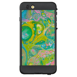 Funda NÜÜD De LifeProof Para iPhone 6 Plus El acrílico del verde y del rosa vierte arte