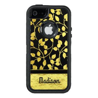 Funda OtterBox Defender Para iPhone 5 Falsas hojas botánicas del efecto metalizado de