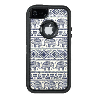 Funda OtterBox Defender Para iPhone 5 Modelo étnico azul del elefante
