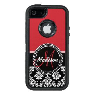 Funda OtterBox Defender Para iPhone 5 Modelo negro rojo del damasco, su monograma