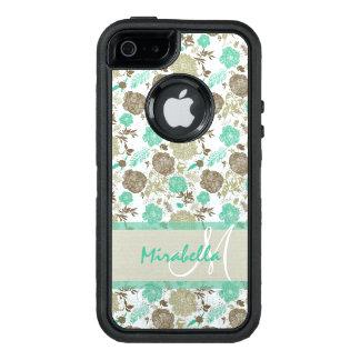 Funda OtterBox Defender Para iPhone 5 Verde menta en colores pastel enorme, rosas beige