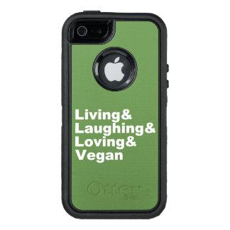 Funda OtterBox Defender Para iPhone 5 Vida y risa y amor y vegano (blancos)