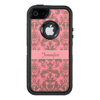 Funda OtterBox Defender Para iPhone 5 Vintage, rojo de la violeta pálida y nombre marrón