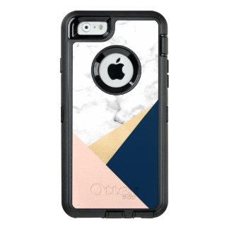Funda OtterBox Defender Para iPhone 6 bloque azul del color del melocotón de mármol