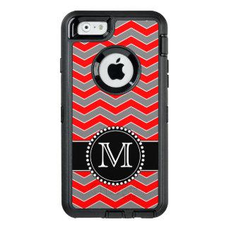 Funda OtterBox Defender Para iPhone 6 Chevron rojo, gris y negro, defensor con monograma