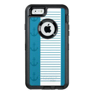 Funda OtterBox Defender Para iPhone 6 Diseño blanco azul náutico del ancla de la raya
