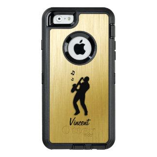 Funda OtterBox Defender Para iPhone 6 Oro del jugador de saxofón personal