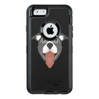 Funda OtterBox Defender Para iPhone 6 Perro Pitbull sonriente del ilustracion