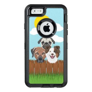 Funda OtterBox Defender Para iPhone 6 Perros afortunados del ilustracion en una cerca de