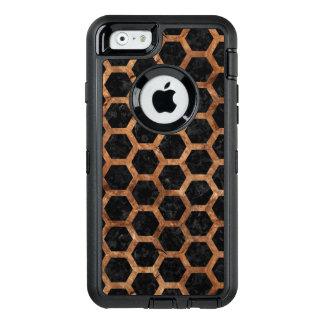 FUNDA OtterBox DEFENDER PARA iPhone 6 PIEDRA NEGRA DEL MÁRMOL HEXAGON2 Y DE BROWN