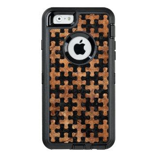 FUNDA OtterBox DEFENDER PARA iPhone 6 PIEDRA NEGRA DEL MÁRMOL PUZZLE1 Y DE BROWN