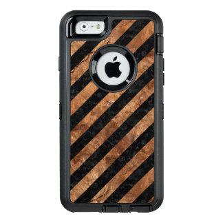 FUNDA OtterBox DEFENDER PARA iPhone 6 PIEDRA NEGRA DEL MÁRMOL STRIPES3 Y DE BROWN