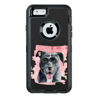 Funda OtterBox Defender Para iPhone 6 Pintura americana negra de la acuarela del dogo