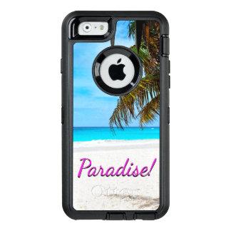 Funda OtterBox Defender Para iPhone 6 Playa blanca de la arena, palmera, texto del