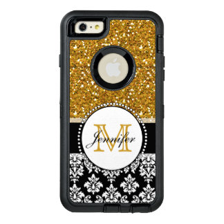 Funda OtterBox Defender Para iPhone 6 Plus Damasco femenino del negro del brillo del oro