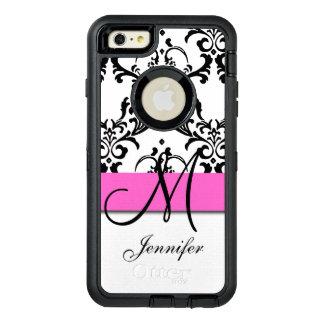 Funda OtterBox Defender Para iPhone 6 Plus El blanco negro rosado con monograma remolina