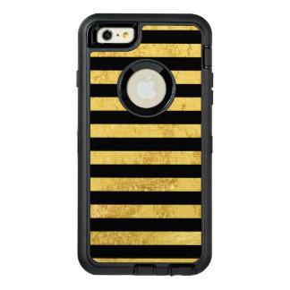 Funda OtterBox Defender Para iPhone 6 Plus Hoja de oro y modelo elegantes de la raya negra