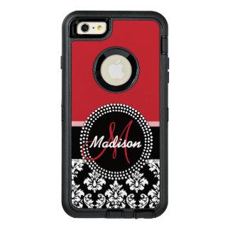 Funda OtterBox Defender Para iPhone 6 Plus Modelo negro rojo del damasco, su monograma