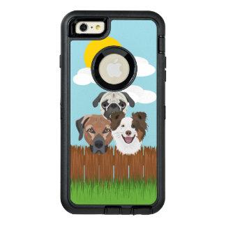 Funda OtterBox Defender Para iPhone 6 Plus Perros afortunados del ilustracion en una cerca de