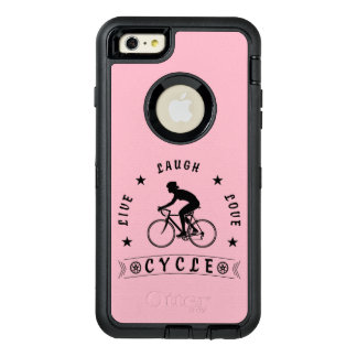 Funda OtterBox Defender Para iPhone 6 Plus Texto de Live Laugh Love Cycle de señora (negro)