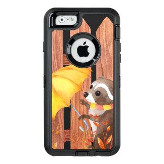Funda OtterBox Defender Para iPhone 6 racoon con el paraguas que camina por la cerca