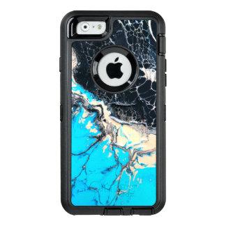 Funda OtterBox Defender Para iPhone 6 Trabajo de arte flúido ciánico y negro de la