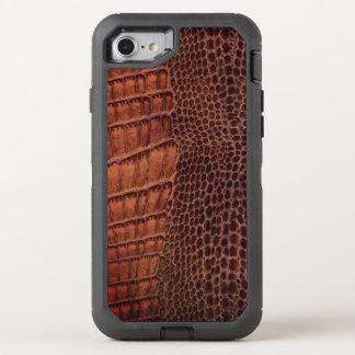 Funda OtterBox Defender Para iPhone 8/7 Cuero clásico del reptil del cocodrilo de Brown