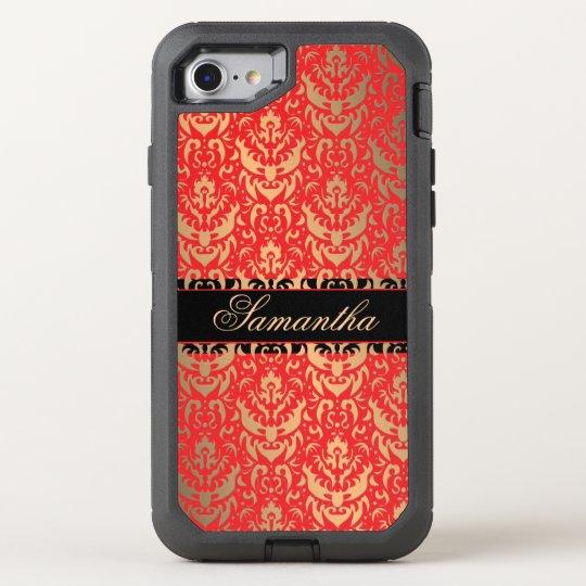 Funda OtterBox Defender Para iPhone 8/7 Damasco rojo y negro del reflejo de oro del